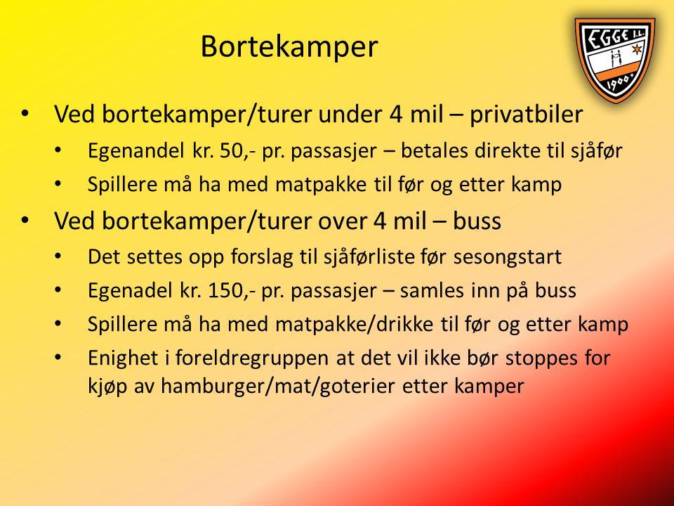 Bortekamper Ved bortekamper/turer under 4 mil – privatbiler Egenandel kr.