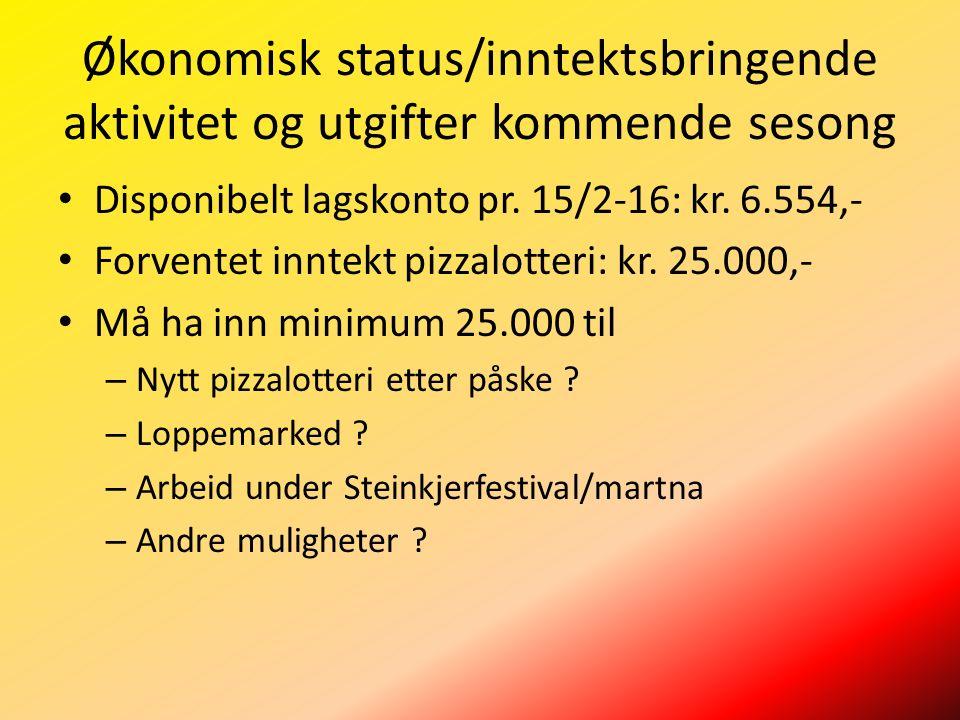 Økonomisk status/inntektsbringende aktivitet og utgifter kommende sesong Disponibelt lagskonto pr.