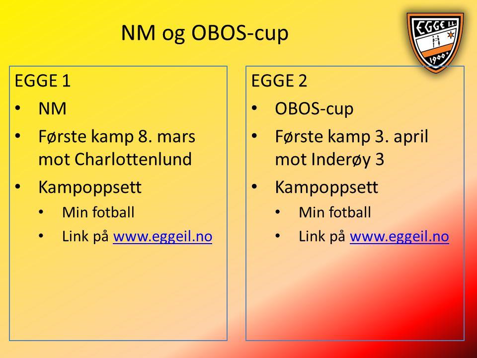 NM og OBOS-cup EGGE 1 NM Første kamp 8.