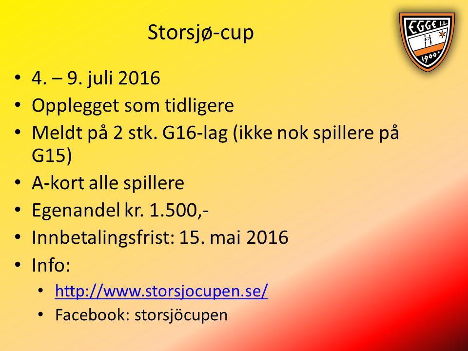 Storsjø-cup 4. – 9. juli 2016 Opplegget som tidligere Meldt på 2 stk.