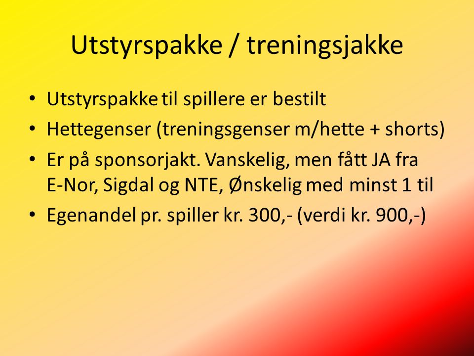 Utstyrspakke / treningsjakke Utstyrspakke til spillere er bestilt Hettegenser (treningsgenser m/hette + shorts) Er på sponsorjakt.