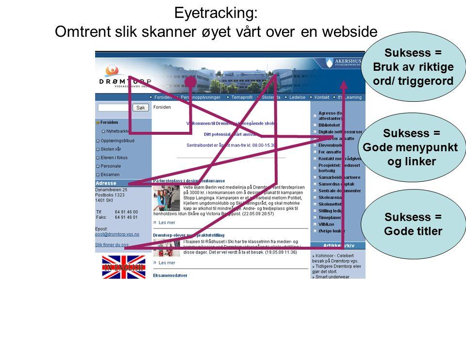 Eyetracking: Omtrent slik skanner øyet vårt over en webside Suksess = Gode menypunkt og linker Suksess = Bruk av riktige ord/ triggerord Suksess = God