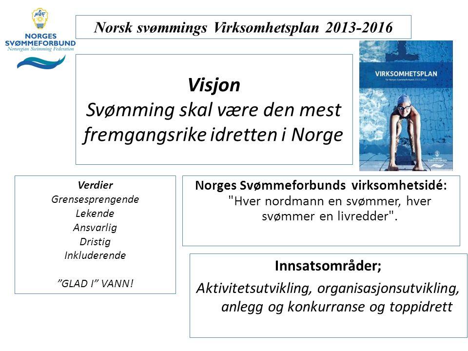 Visjon Svømming skal være den mest fremgangsrike idretten i Norge Norges Svømmeforbunds virksomhetsidé: Hver nordmann en svømmer, hver svømmer en livredder .