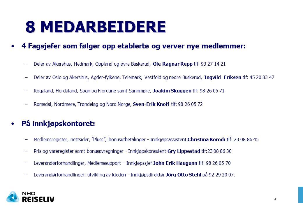 4 4 Fagsjefer som følger opp etablerte og verver nye medlemmer: –Deler av Akershus, Hedmark, Oppland og øvre Buskerud, Ole Ragnar Repp tlf: 93 27 14 21 –Deler av Oslo og Akershus, Agder-fylkene, Telemark, Vestfold og nedre Buskerud, Ingvild Eriksen tlf: 45 20 83 47 –Rogaland, Hordaland, Sogn og Fjordane samt Sunnmøre, Joakim Skuggen tlf: 98 26 05 71 –Romsdal, Nordmøre, Trøndelag og Nord Norge, Sven-Erik Knoff tlf: 98 26 05 72 På innkjøpskontoret: –Medlemsregister, nettsider, Pluss , bonusutbetalinger - Innkjøpsassistent Christina Korodi tlf: 23 08 86 45 –Pris og vareregister samt bonusavregninger - Innkjøpskonsulent Gry Lippestad tlf:23 08 86 30 –Leverandørforhandlinger, Medlemssupport – Innkjøpssjef John Erik Haugunn tlf: 98 26 05 70 –Leverandørforhandlinger, utvikling av kjeden - Innkjøpsdirektør Jörg Otto Stehl på 92 29 20 07.