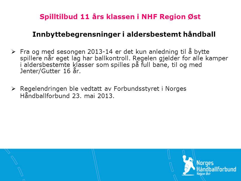 Spilltilbud 11 års klassen i NHF Region Øst Innbyttebegrensninger i aldersbestemt håndball  Fra og med sesongen 2013-14 er det kun anledning til å bytte spillere når eget lag har ballkontroll.