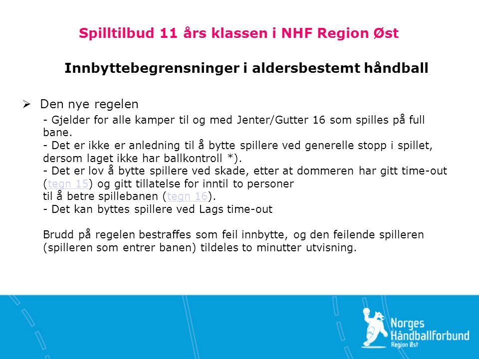 Spilltilbud 11 års klassen i NHF Region Øst Innbyttebegrensninger i aldersbestemt håndball  Den nye regelen - Gjelder for alle kamper til og med Jenter/Gutter 16 som spilles på full bane.