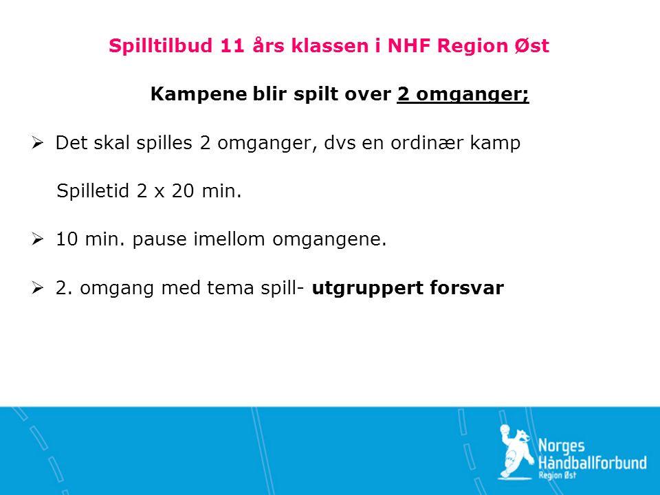 Spilltilbud 11 års klassen i NHF Region Øst Kampene blir spilt over 2 omganger;  Det skal spilles 2 omganger, dvs en ordinær kamp Spilletid 2 x 20 min.
