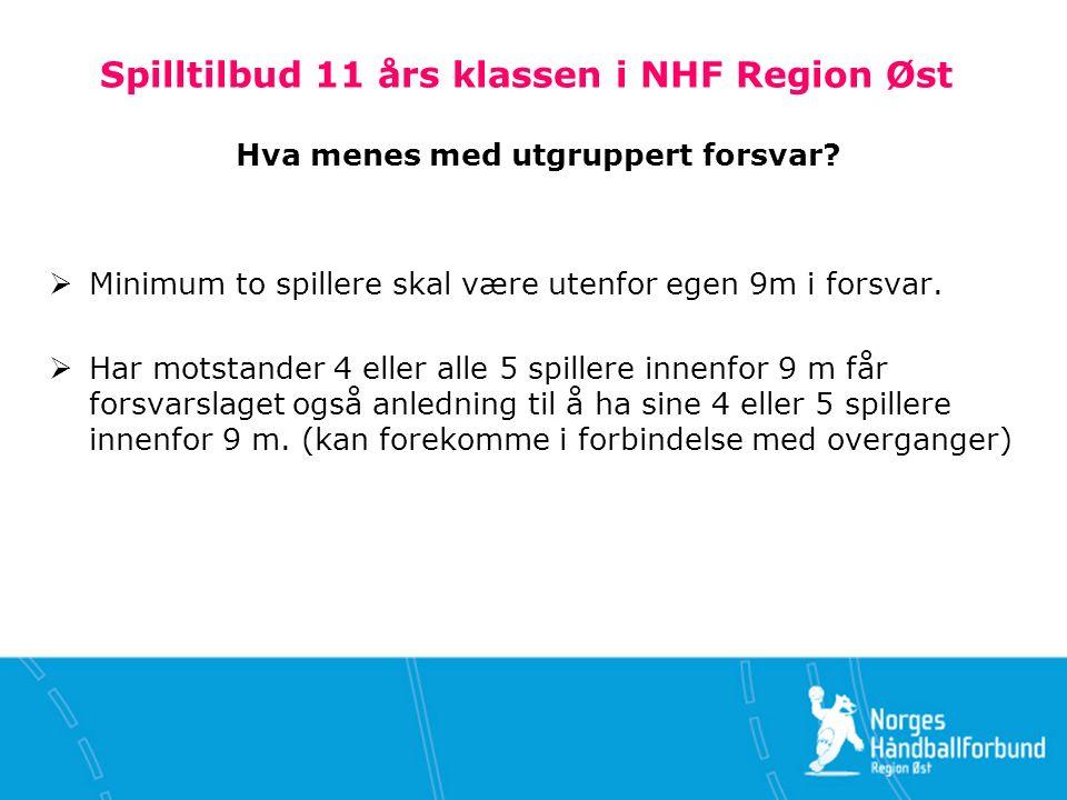 Spilltilbud 11 års klassen i NHF Region Øst Innbyttebegrensninger i aldersbestemt håndball  Se spillereglene: 4.4, 4.5, 13.1.