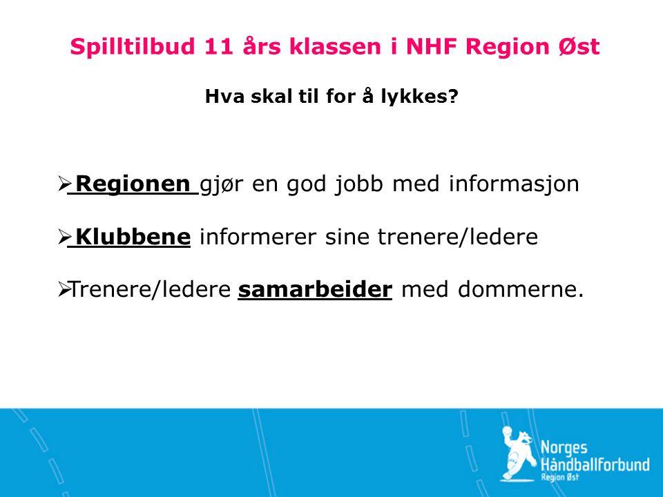 Spilltilbud 11 års klassen i NHF Region Øst Hva skal til for å lykkes.