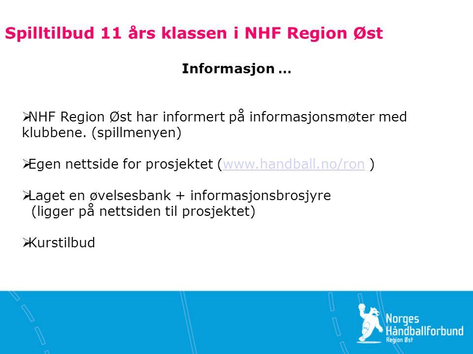 Spilltilbud 11 års klassen i NHF Region Øst Informasjon …  NHF Region Øst har informert på informasjonsmøter med klubbene.