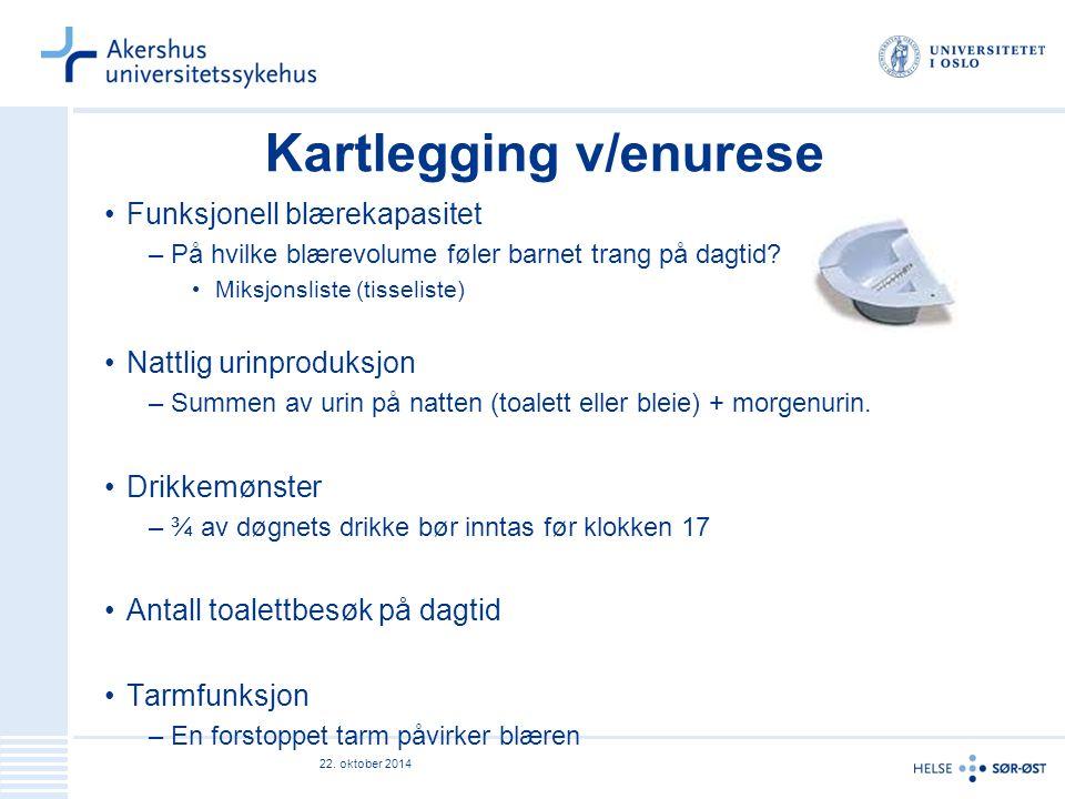 Annen nyttig informasjon Enurese: –Inkontinensprodukter på blå resept etter paragraf 5.1, fra 8 år.