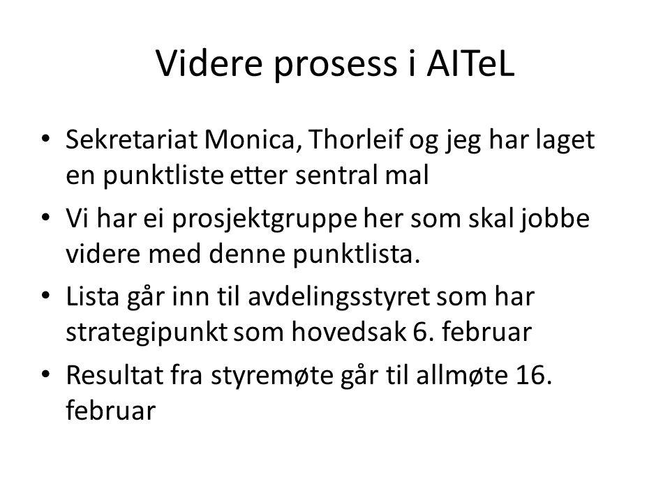 Videre prosess i AITeL Sekretariat Monica, Thorleif og jeg har laget en punktliste etter sentral mal Vi har ei prosjektgruppe her som skal jobbe videre med denne punktlista.