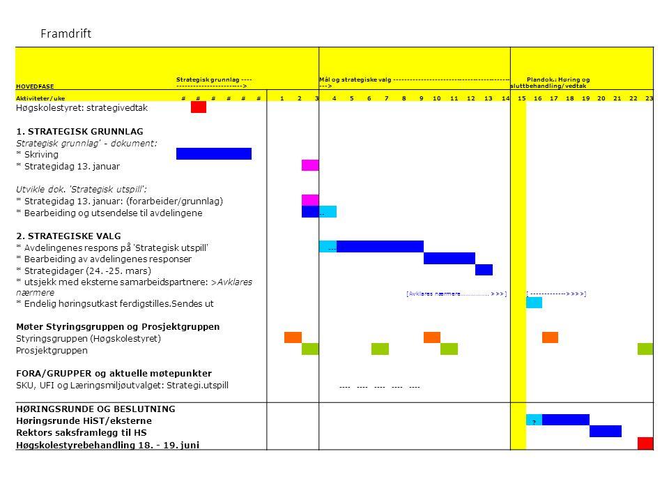 Framdrift HOVEDFASE Strategisk grunnlag ---- ------------------------> Mål og strategiske valg ------------------------------------------- ---> Plandok.: Høring og sluttbehandling/vedtak Aktiviteter/uke######1234567891011121314151617181920212223 Høgskolestyret: strategivedtak 1.