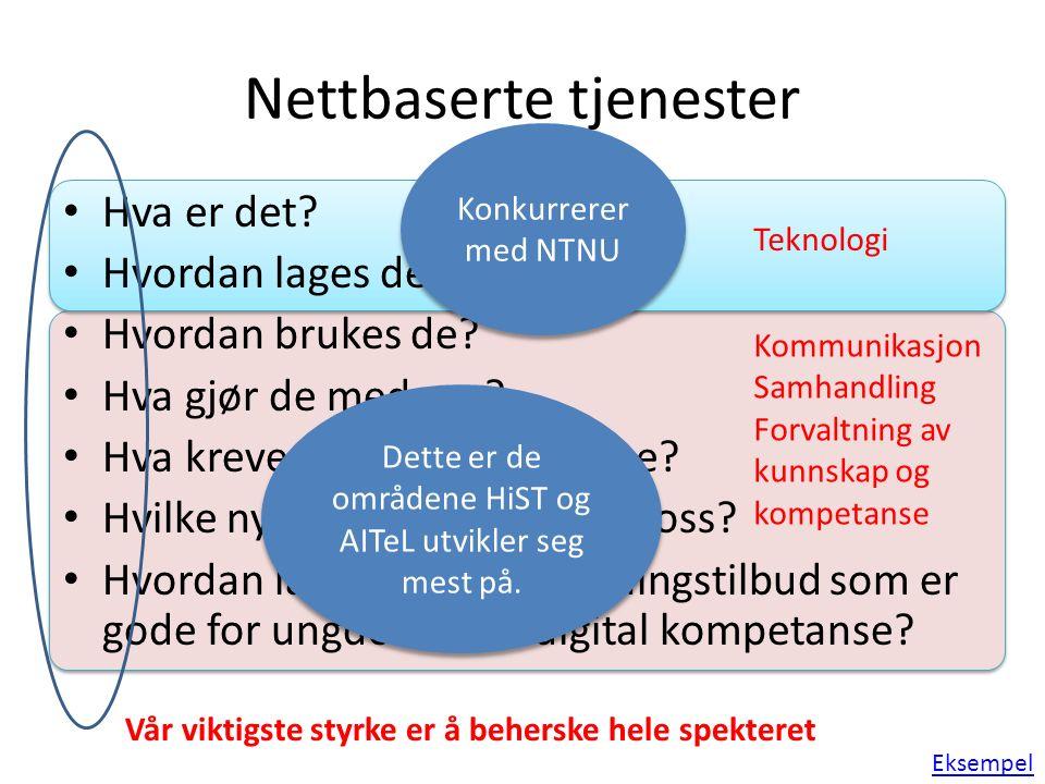 Kommunikasjon Samhandling Forvaltning av kunnskap og kompetanse Teknologi Nettbaserte tjenester Hva er det.
