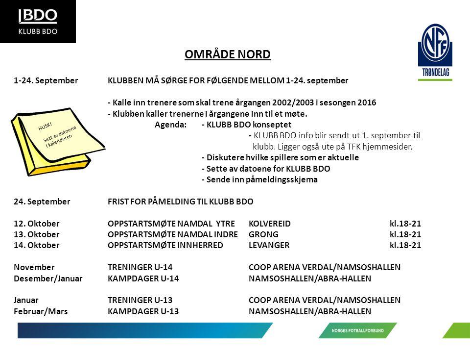 OMRÅDE NORD 1-24. SeptemberKLUBBEN MÅ SØRGE FOR FØLGENDE MELLOM 1-24.