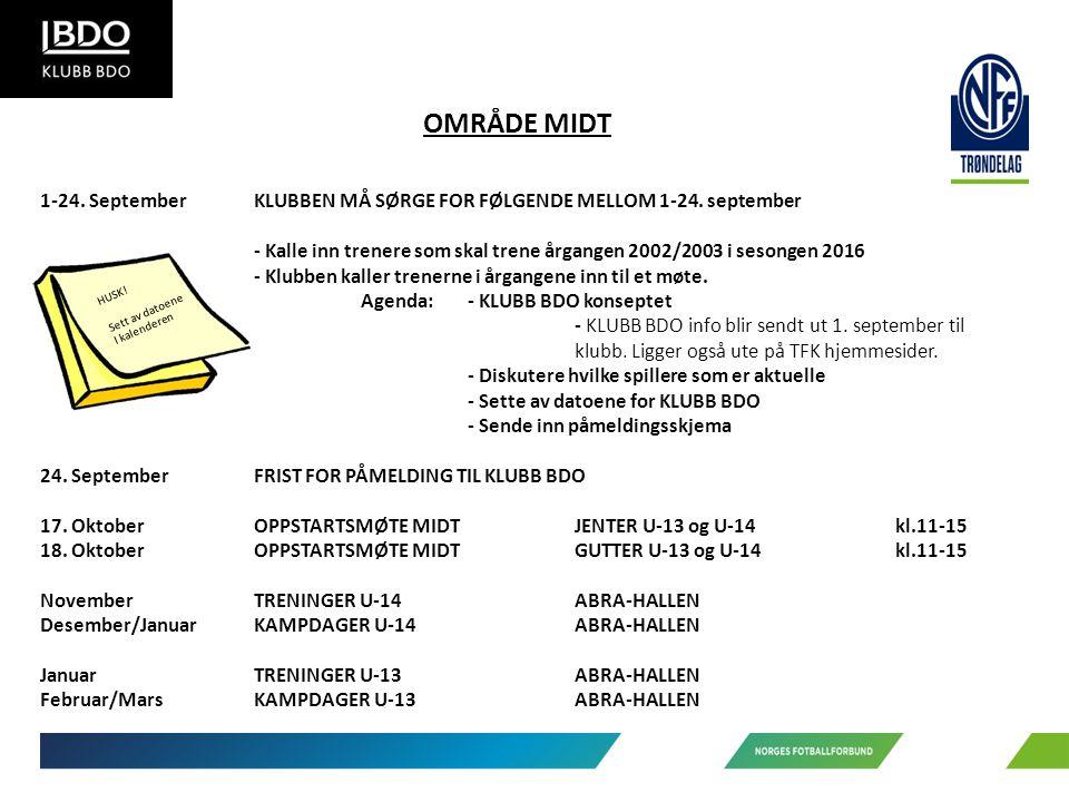 OMRÅDE MIDT 1-24. SeptemberKLUBBEN MÅ SØRGE FOR FØLGENDE MELLOM 1-24.