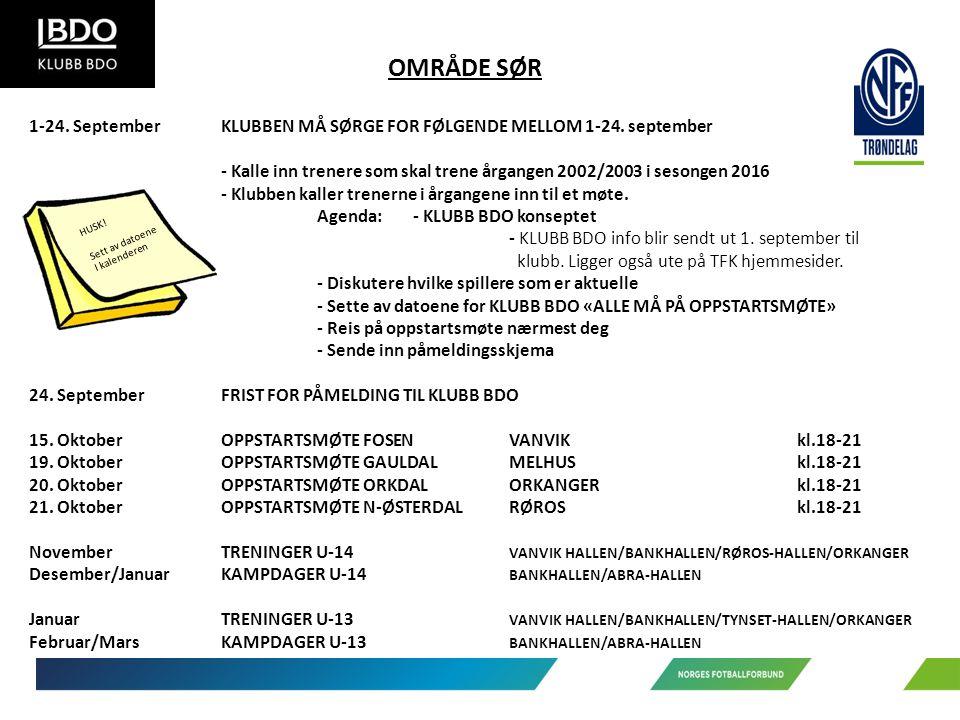 OMRÅDE SØR 1-24. SeptemberKLUBBEN MÅ SØRGE FOR FØLGENDE MELLOM 1-24.