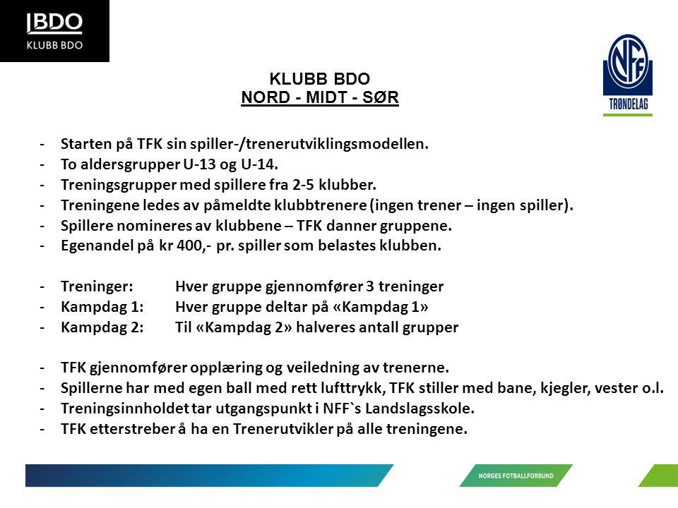 KLUBB BDO NORD - MIDT - SØR -Starten på TFK sin spiller-/trenerutviklingsmodellen.
