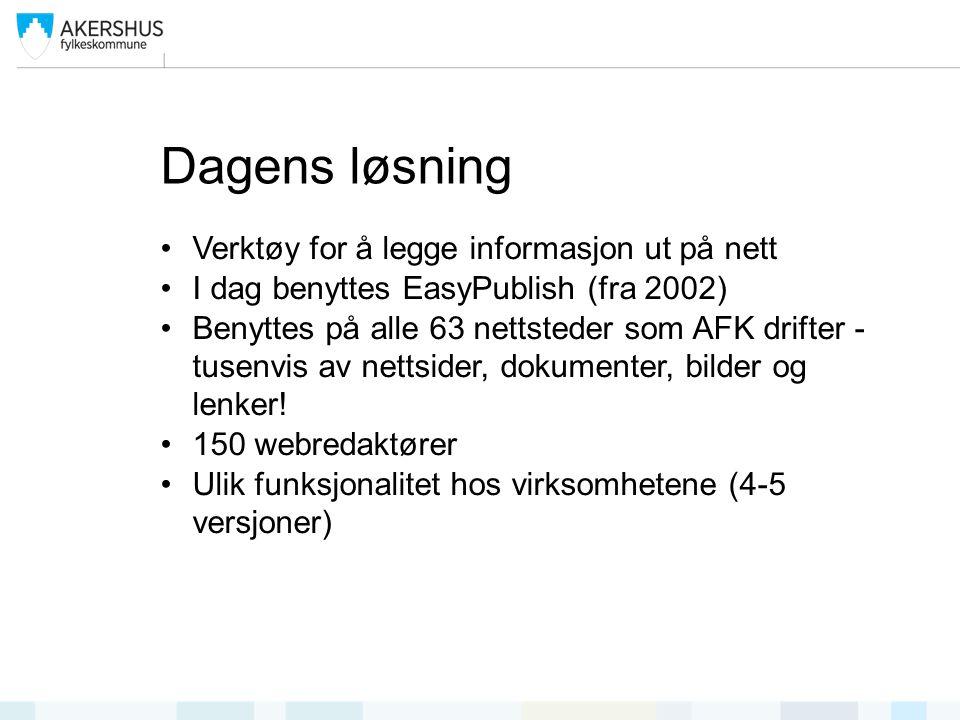 Dagens løsning Verktøy for å legge informasjon ut på nett I dag benyttes EasyPublish (fra 2002) Benyttes på alle 63 nettsteder som AFK drifter - tusenvis av nettsider, dokumenter, bilder og lenker.