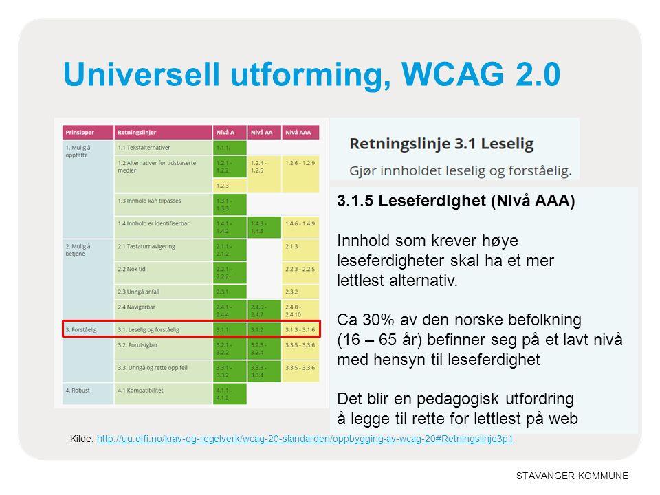 STAVANGER KOMMUNE Universell utforming, WCAG 2.0 Kilde: http://uu.difi.no/krav-og-regelverk/wcag-20-standarden/oppbygging-av-wcag-20#Retningslinje3p1http://uu.difi.no/krav-og-regelverk/wcag-20-standarden/oppbygging-av-wcag-20#Retningslinje3p1 3.1.5 Leseferdighet (Nivå AAA) Innhold som krever høye leseferdigheter skal ha et mer lettlest alternativ.
