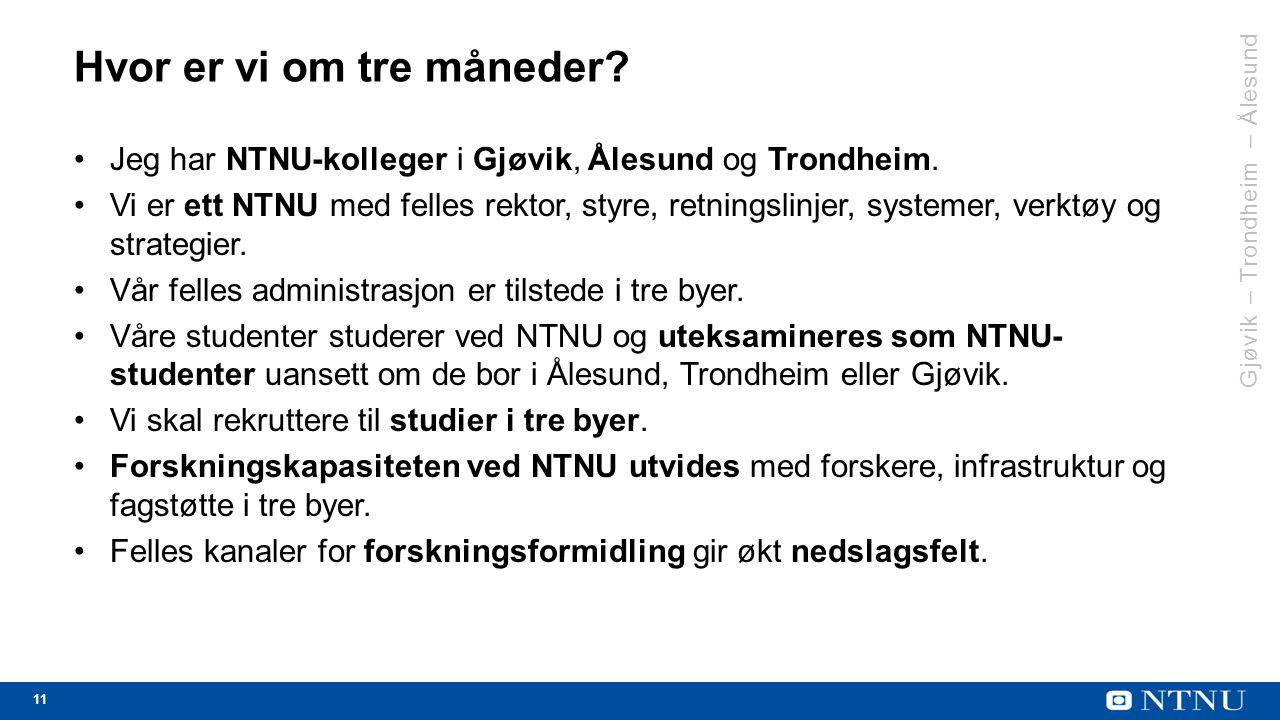 11 Hvor er vi om tre måneder. Jeg har NTNU-kolleger i Gjøvik, Ålesund og Trondheim.