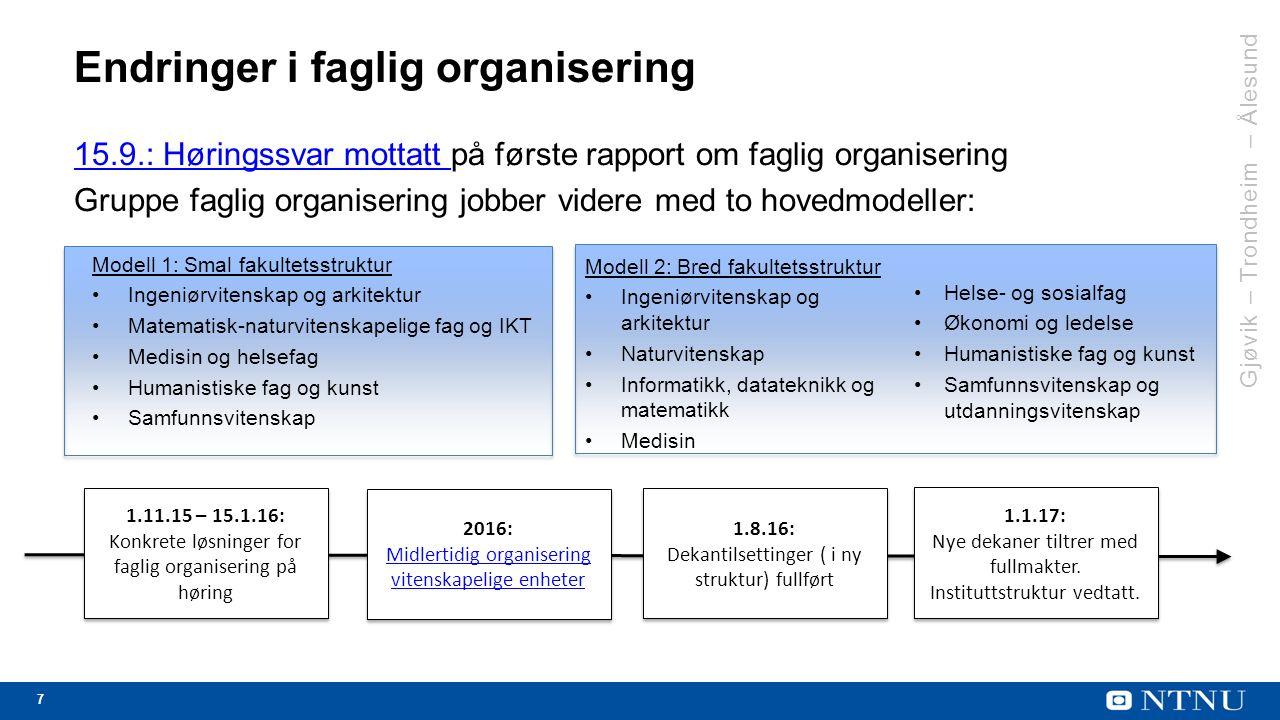 7 Endringer i faglig organisering 15.9.: Høringssvar mottatt 15.9.: Høringssvar mottatt på første rapport om faglig organisering Gruppe faglig organisering jobber videre med to hovedmodeller: 1.11.15 – 15.1.16: Konkrete løsninger for faglig organisering på høring 1.11.15 – 15.1.16: Konkrete løsninger for faglig organisering på høring 1.8.16: Dekantilsettinger ( i ny struktur) fullført 1.8.16: Dekantilsettinger ( i ny struktur) fullført 1.1.17: Nye dekaner tiltrer med fullmakter.
