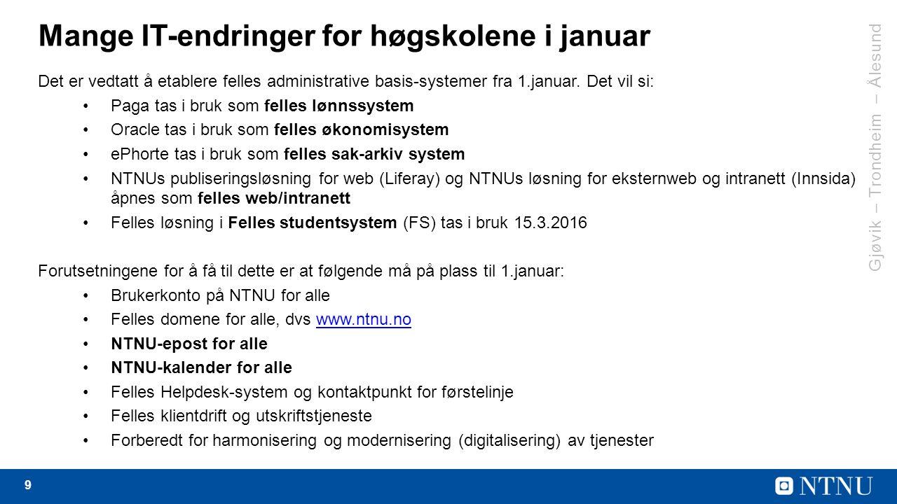 9 Mange IT-endringer for høgskolene i januar Det er vedtatt å etablere felles administrative basis-systemer fra 1.januar.