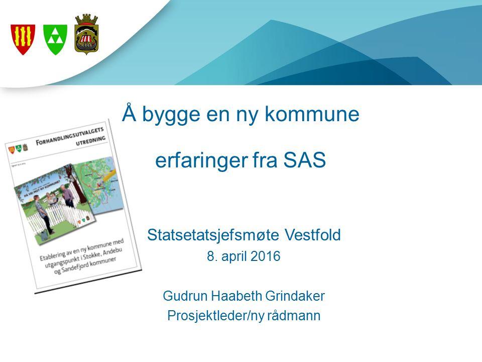 Å bygge en ny kommune erfaringer fra SAS Statsetatsjefsmøte Vestfold 8.
