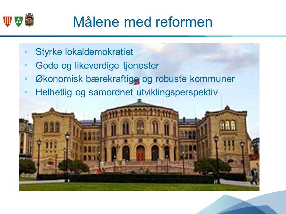 Målene med reformen Styrke lokaldemokratiet Gode og likeverdige tjenester Økonomisk bærekraftige og robuste kommuner Helhetlig og samordnet utviklingsperspektiv