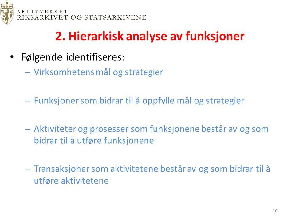 2. Hierarkisk analyse av funksjoner Følgende identifiseres: – Virksomhetens mål og strategier – Funksjoner som bidrar til å oppfylle mål og strategier