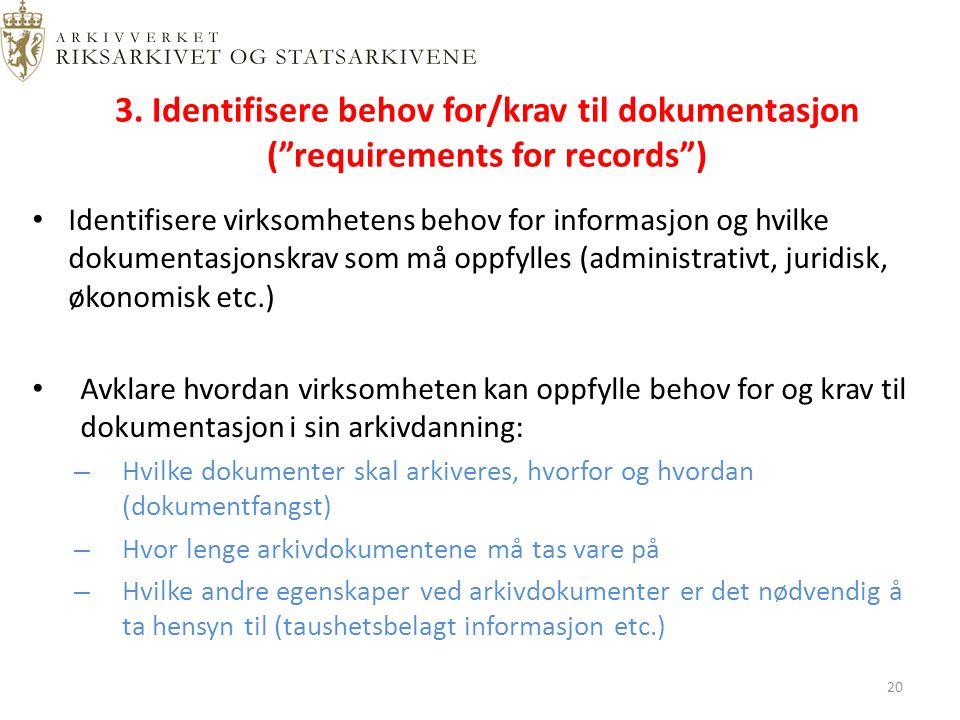 """3. Identifisere behov for/krav til dokumentasjon (""""requirements for records"""") Identifisere virksomhetens behov for informasjon og hvilke dokumentasjon"""