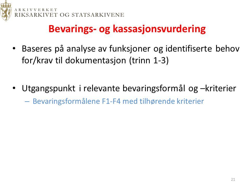 Bevarings- og kassasjonsvurdering Baseres på analyse av funksjoner og identifiserte behov for/krav til dokumentasjon (trinn 1-3) Utgangspunkt i relevante bevaringsformål og –kriterier – Bevaringsformålene F1-F4 med tilhørende kriterier 21