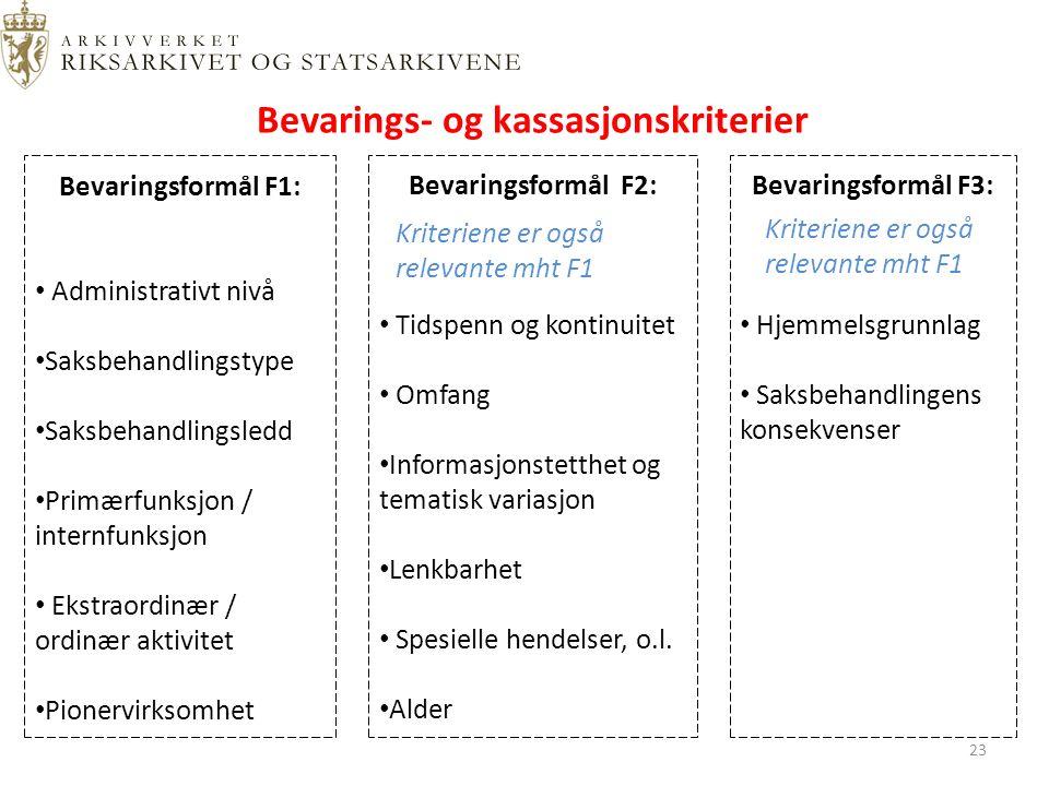 Bevarings- og kassasjonskriterier Bevaringsformål F1: Administrativt nivå Saksbehandlingstype Saksbehandlingsledd Primærfunksjon / internfunksjon Ekstraordinær / ordinær aktivitet Pionervirksomhet Bevaringsformål F2: Tidspenn og kontinuitet Omfang Informasjonstetthet og tematisk variasjon Lenkbarhet Spesielle hendelser, o.l.