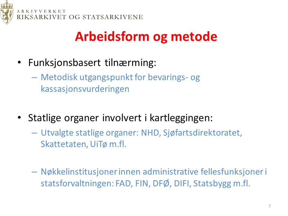 Hierarkisk funksjonsanalyse Funksjon Aktivitet Transaksjon Dokumentasjon Virksomhetens mål og strategier 18