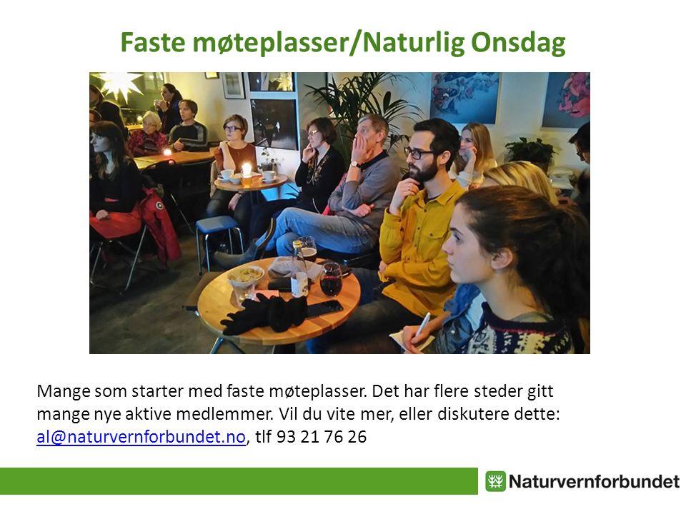 Faste møteplasser/Naturlig Onsdag Mange som starter med faste møteplasser.