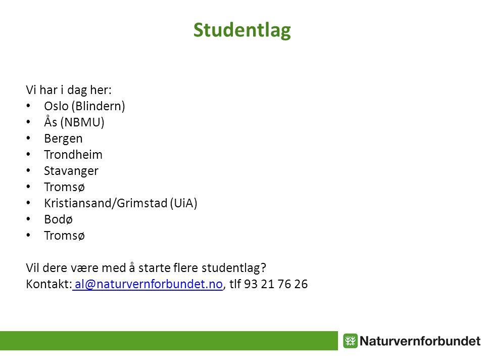 Studentlag Vi har i dag her: Oslo (Blindern) Ås (NBMU) Bergen Trondheim Stavanger Tromsø Kristiansand/Grimstad (UiA) Bodø Tromsø Vil dere være med å starte flere studentlag.