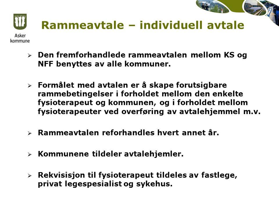 Rammeavtale – individuell avtale  Den fremforhandlede rammeavtalen mellom KS og NFF benyttes av alle kommuner.
