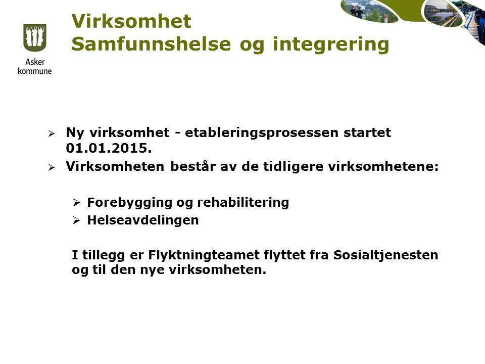 Virksomhet Samfunnshelse og integrering  Ny virksomhet - etableringsprosessen startet 01.01.2015.