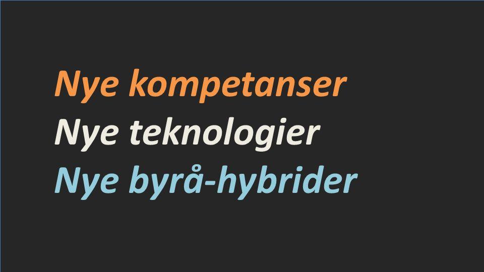 Nye kompetanser Nye teknologier Nye byrå-hybrider