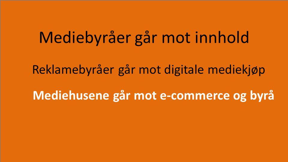 Mediebyråer går mot innhold Reklamebyråer går mot digitale mediekjøp Mediehusene går mot e-commerce og byrå