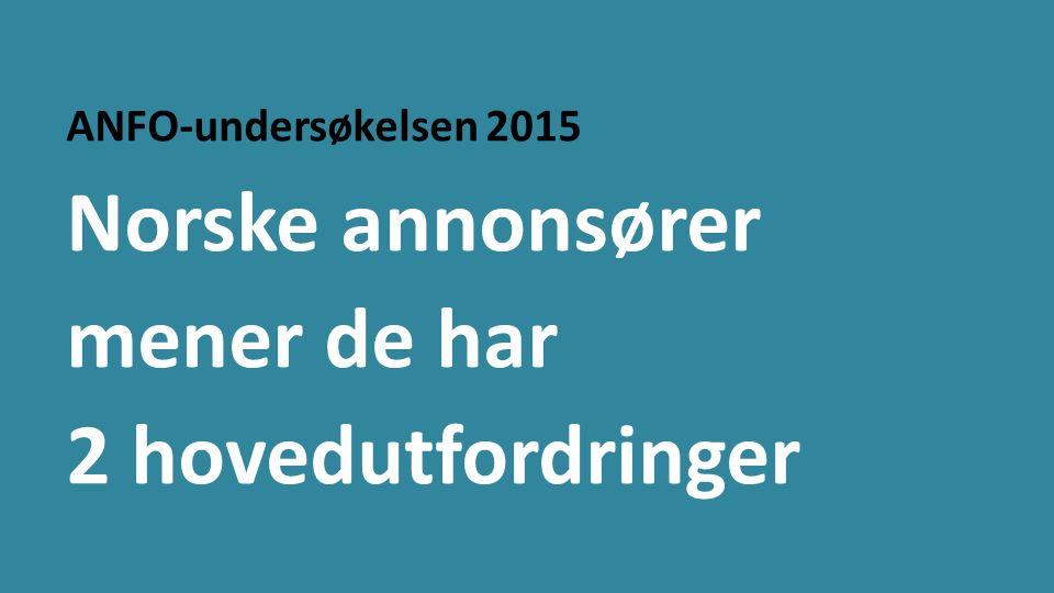 ANFO-undersøkelsen 2015 Norske annonsører mener de har 2 hovedutfordringer