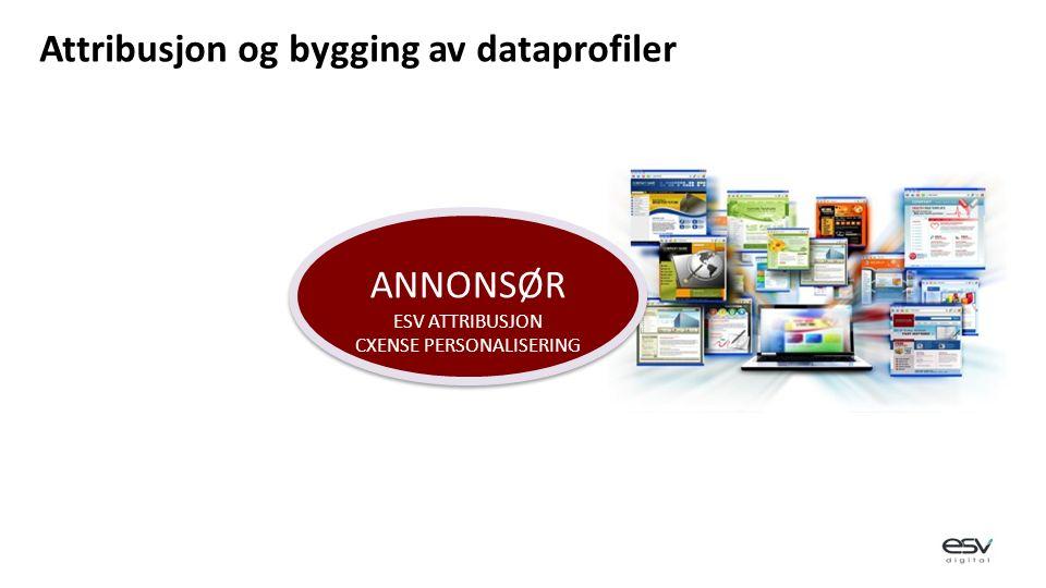 ANNONSØR ESV ATTRIBUSJON CXENSE PERSONALISERING ANNONSØR ESV ATTRIBUSJON CXENSE PERSONALISERING Attribusjon og bygging av dataprofiler