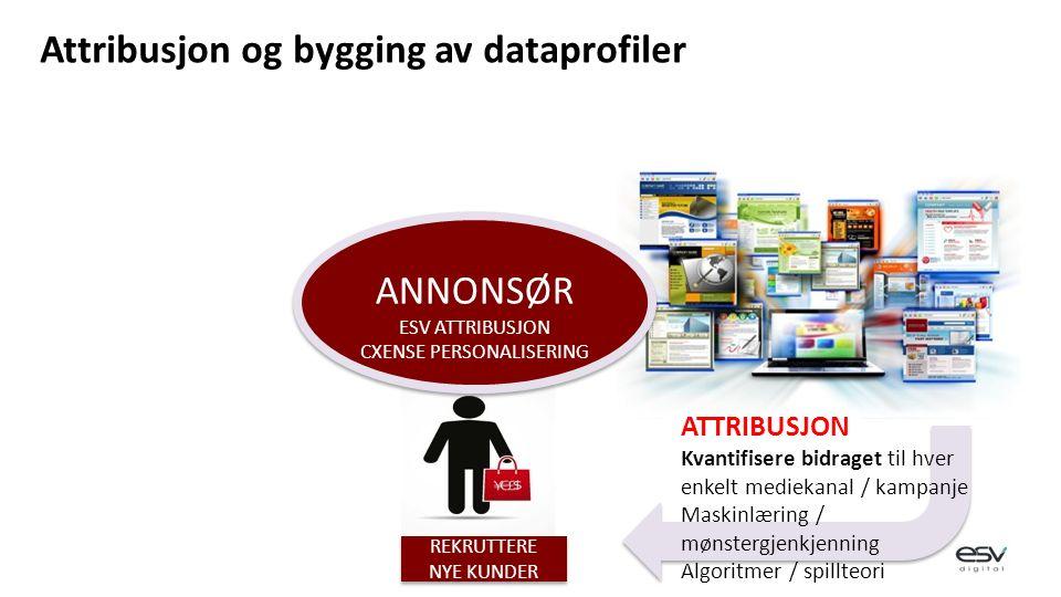 ATTRIBUSJON Kvantifisere bidraget til hver enkelt mediekanal / kampanje Maskinlæring / mønstergjenkjenning Algoritmer / spillteori REKRUTTERE NYE KUNDER ANNONSØR ESV ATTRIBUSJON CXENSE PERSONALISERING ANNONSØR ESV ATTRIBUSJON CXENSE PERSONALISERING Attribusjon og bygging av dataprofiler