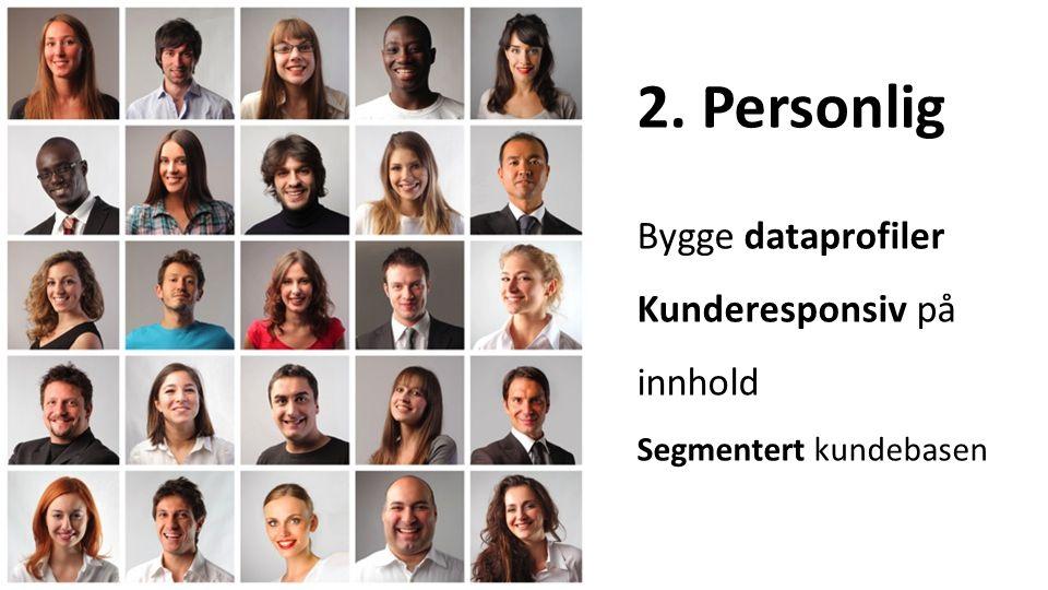 2. Personlig Bygge dataprofiler Kunderesponsiv på innhold Segmentert kundebasen