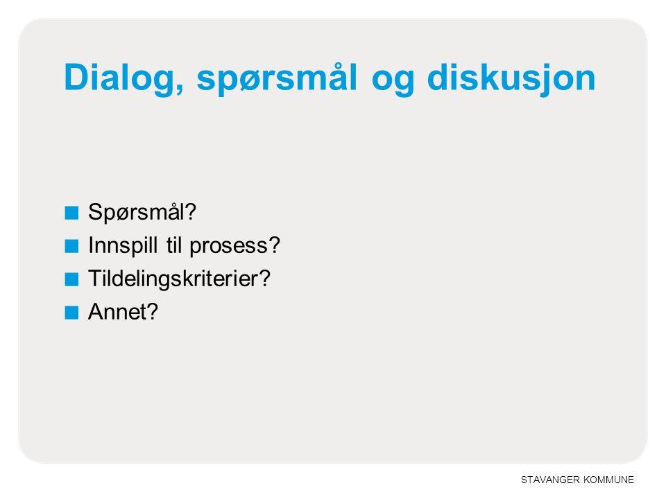 STAVANGER KOMMUNE Dialog, spørsmål og diskusjon ■ Spørsmål.