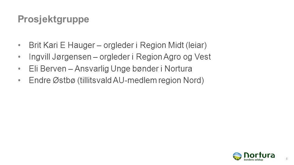 Prosjektgruppe Brit Kari E Hauger – orgleder i Region Midt (leiar) Ingvill Jørgensen – orgleder i Region Agro og Vest Eli Berven – Ansvarlig Unge bønder i Nortura Endre Østbø (tillitsvald AU-medlem region Nord) 6