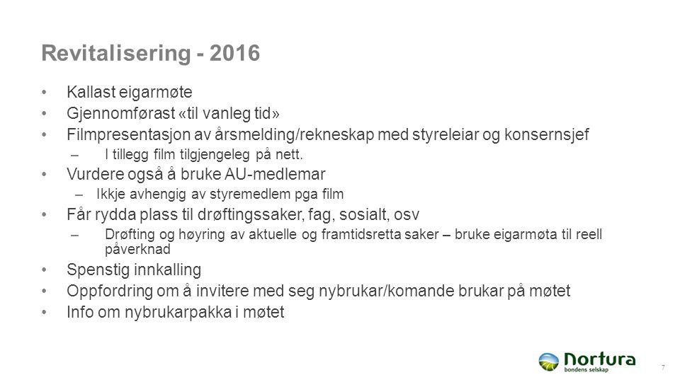 Revitalisering - 2016 Kallast eigarmøte Gjennomførast «til vanleg tid» Filmpresentasjon av årsmelding/rekneskap med styreleiar og konsernsjef –I tille