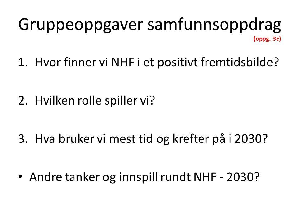 Gruppeoppgaver samfunnsoppdrag (oppg. 3c) 1.Hvor finner vi NHF i et positivt fremtidsbilde.