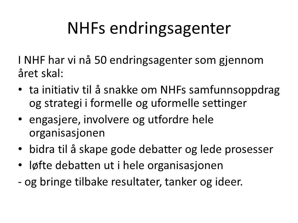 NHFs endringsagenter I NHF har vi nå 50 endringsagenter som gjennom året skal: ta initiativ til å snakke om NHFs samfunnsoppdrag og strategi i formelle og uformelle settinger engasjere, involvere og utfordre hele organisasjonen bidra til å skape gode debatter og lede prosesser løfte debatten ut i hele organisasjonen - og bringe tilbake resultater, tanker og ideer.