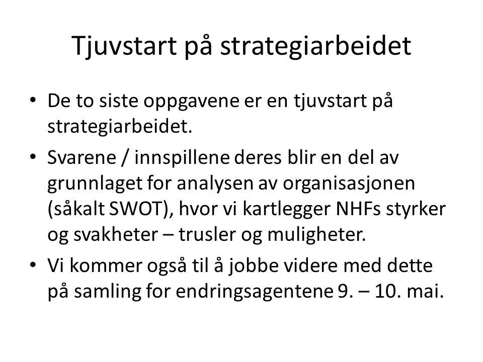 Tjuvstart på strategiarbeidet De to siste oppgavene er en tjuvstart på strategiarbeidet.